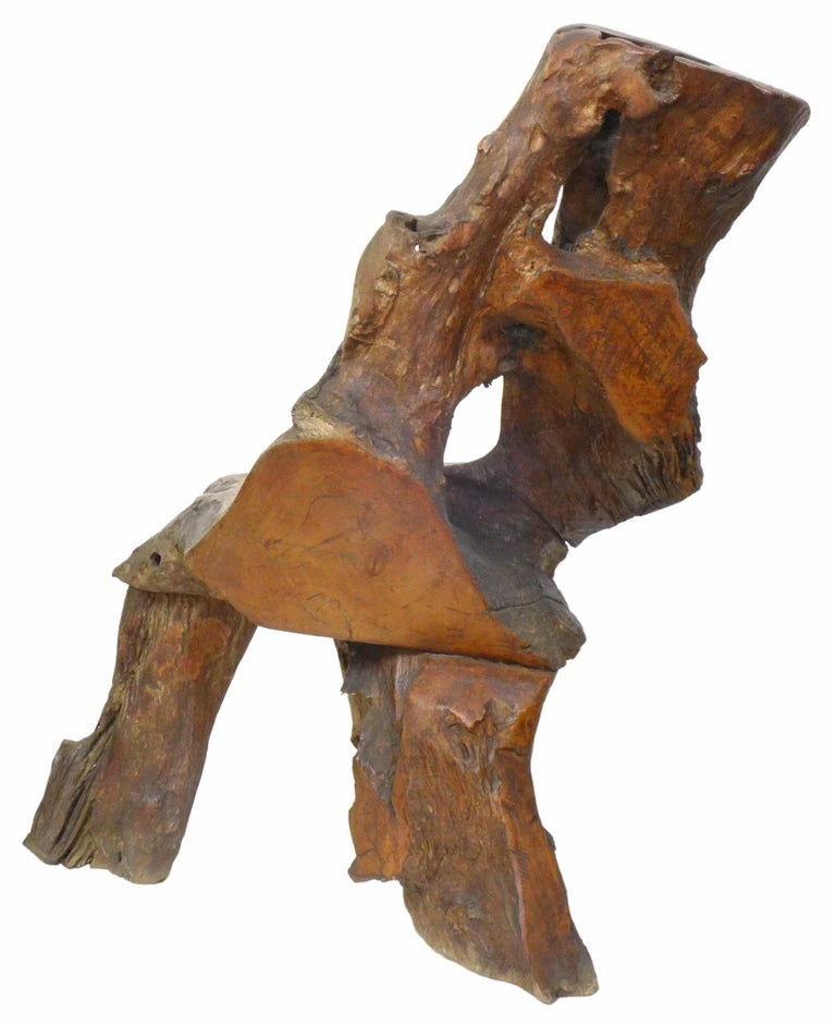 Organic Burl Redwood Chair In Good Condition For Sale In Los Angeles, CA