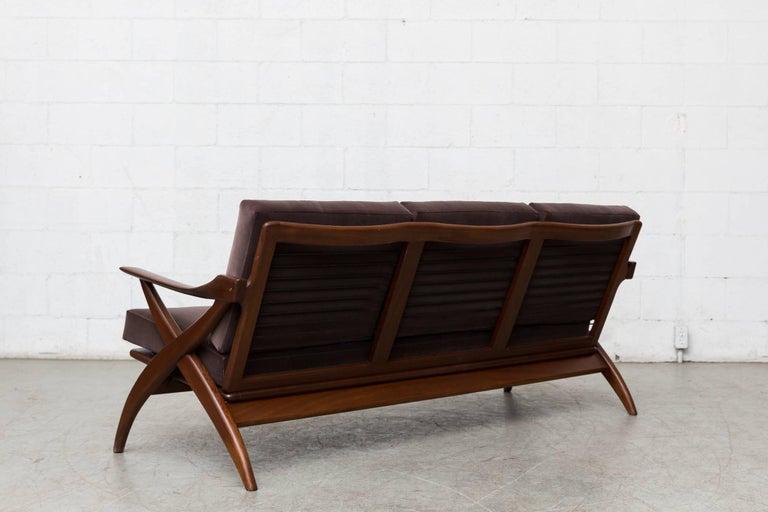Dutch Organic Carved Teak Three-Seat Sofa by Topform For Sale