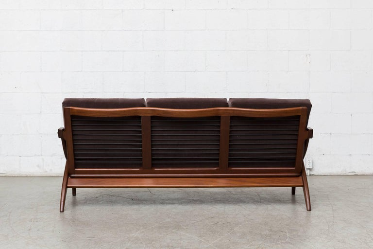 Organic Carved Teak Three-Seat Sofa by Topform In Good Condition For Sale In Los Angeles, CA