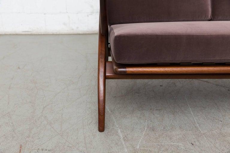 Velvet Organic Carved Teak Three-Seat Sofa by Topform For Sale