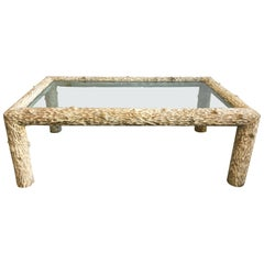 Organic Carved Wood and Glass Top Coffee Table