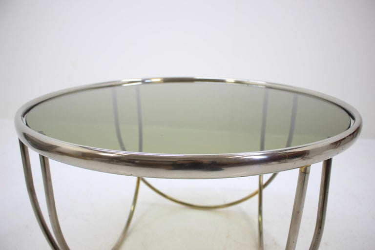 - 1970s, West Europe - made of brass, chromed (patina) - smoked glass.