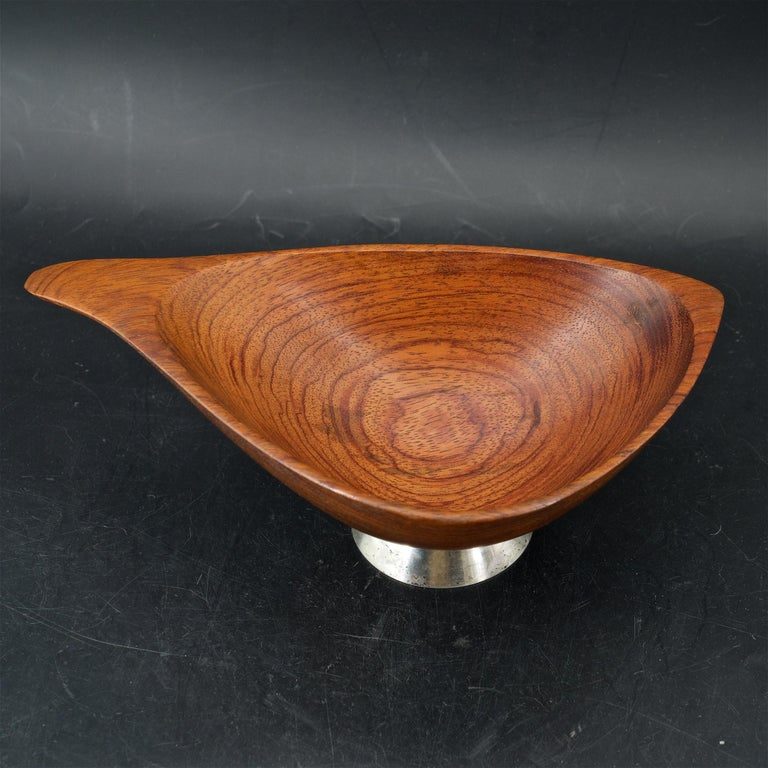 Hand-Crafted Organic Craftsman Sterling Footed Bubinga Bowl Midcentury 1960s American Design For Sale