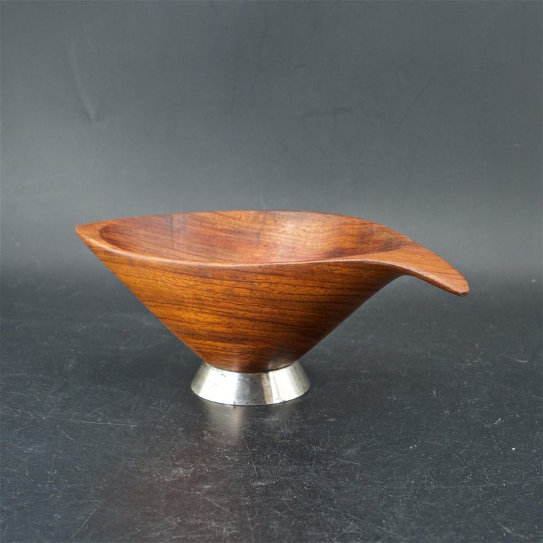 Organic Craftsman Sterling Footed Bubinga Bowl Midcentury 1960s American Design For Sale 2