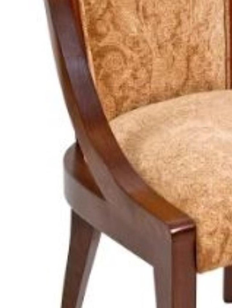 Art Deco Organic Deco Dining Chair in Solid Walnut and Upholstered in Fabric or Leather  For Sale