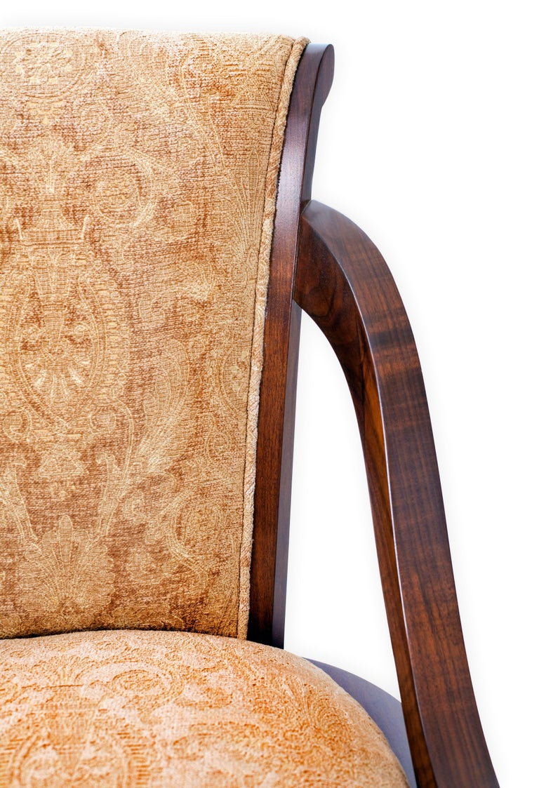 Woodwork Organic Deco Dining Chair in Solid Walnut, Upholstered in Fabric or Leather For Sale