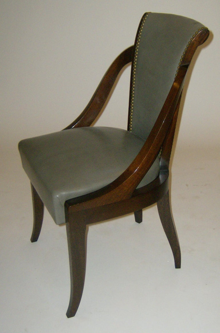 Polished Organic Deco Dining Chair in Solid Walnut and Upholstered in Fabric or Leather  For Sale