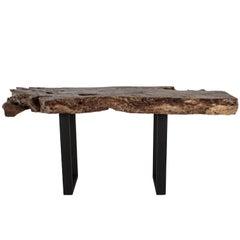 Organic Form Lyche Wood Slab Top on Steel Mount