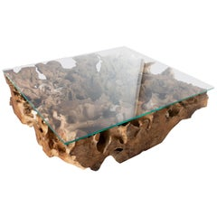 Organic Form Sculptural Teak Coffee Table with Star Fire Glass Top
