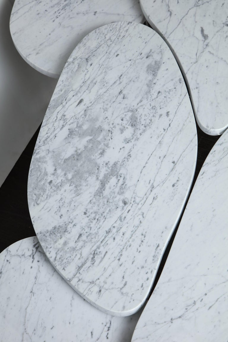 Stainless Steel Organic Free-Form Marble Cocktail Table For Sale