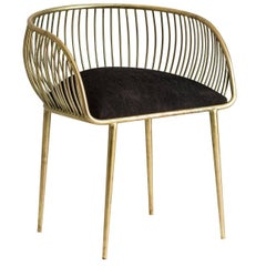 Organic Gold and Black Fabric Armchair