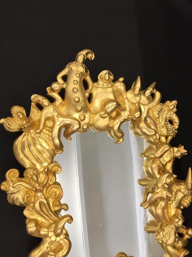Late 20th Century Organic Golden Wall Mirror Stories and Legends Festival around the Frame For Sale