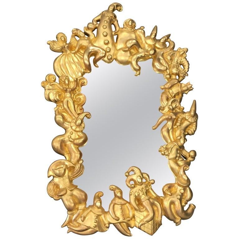 Organic Golden Wall Mirror Stories and Legends Festival around the Frame For Sale