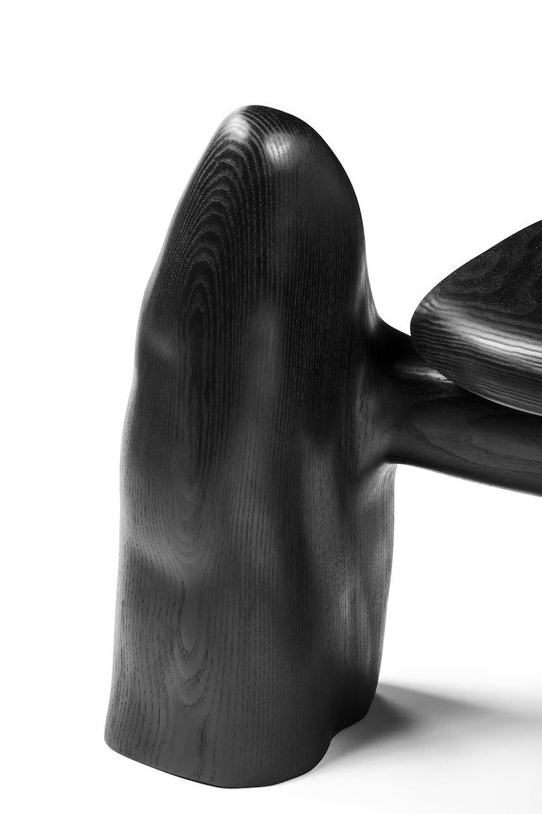 Organic Hand Carved and Blackened Ash Chair by Casey McCafferty For Sale 5