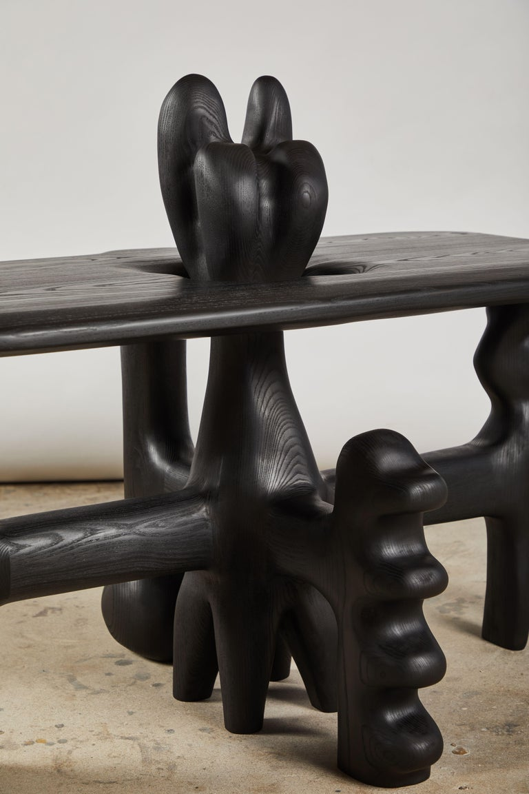 American Organic Hand Carved and Ebonized Ash Coffee Table by Casey McCafferty For Sale