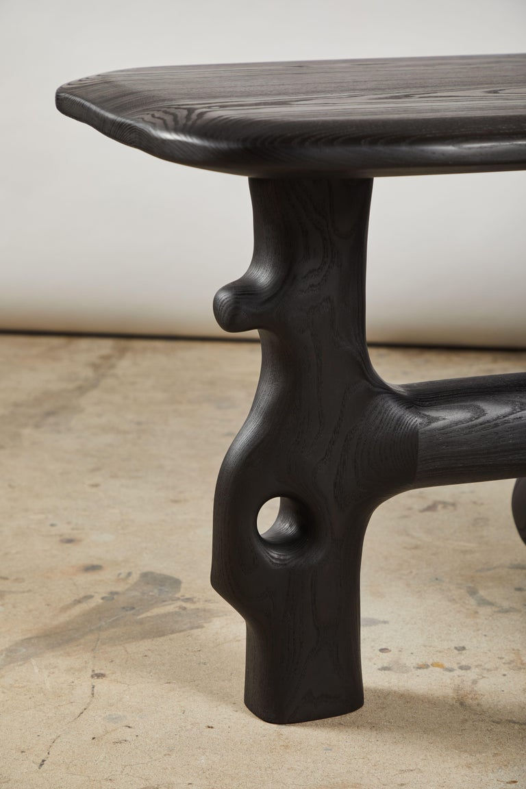 Blackened Organic Hand Carved and Ebonized Ash Coffee Table by Casey McCafferty For Sale