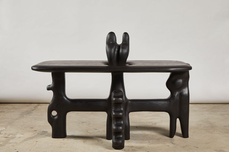Organic Hand Carved and Ebonized Ash Coffee Table by Casey McCafferty In New Condition For Sale In Santa Monica, CA