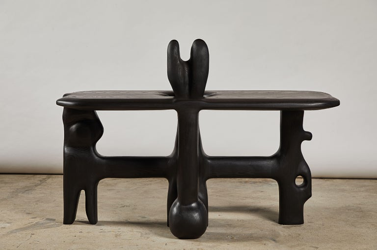 Contemporary Organic Hand Carved and Ebonized Ash Coffee Table by Casey McCafferty For Sale