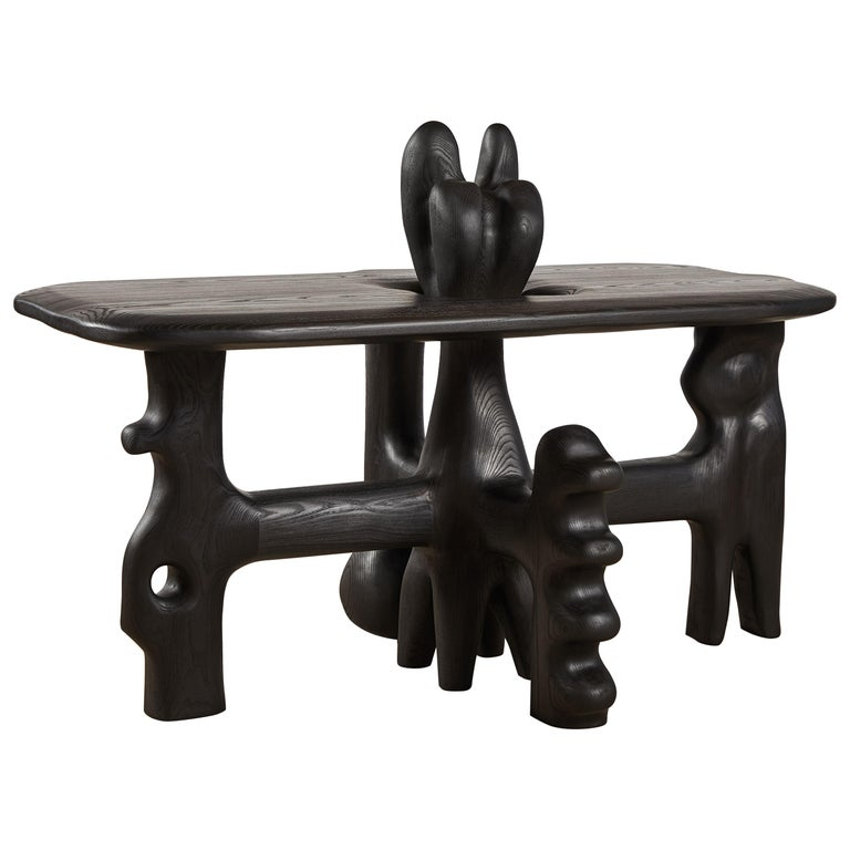 Organic Hand Carved and Ebonized Ash Coffee Table by Casey McCafferty For Sale