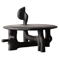 Organic Hand Carved and Ebonized Ash Coffee Table by Casey McCafferty