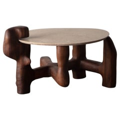 Organic Hand Carved and Oiled Walnut Side Table by Casey McCafferty