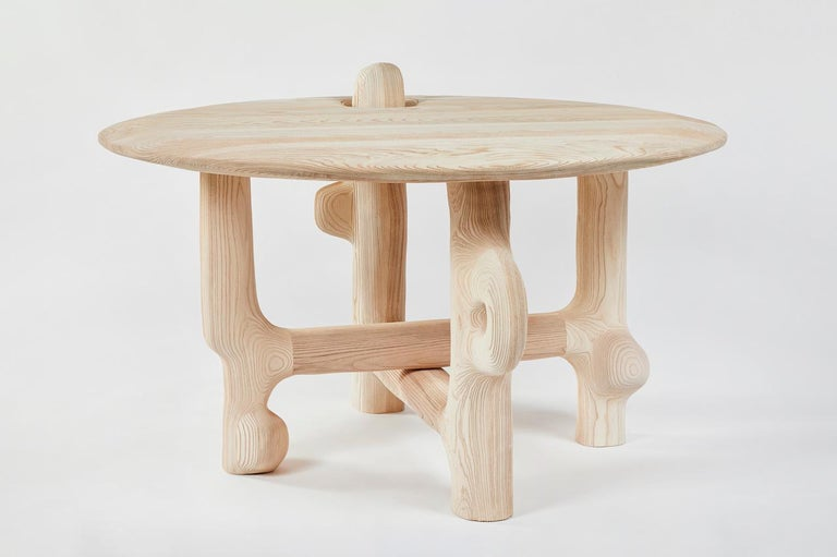 American Organic Hand Carved and Textured Ash Dining Table by Casey McCafferty For Sale