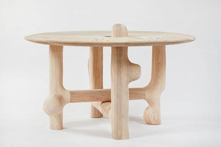 Blackened Organic Hand Carved and Textured Ash Dining Table by Casey McCafferty For Sale