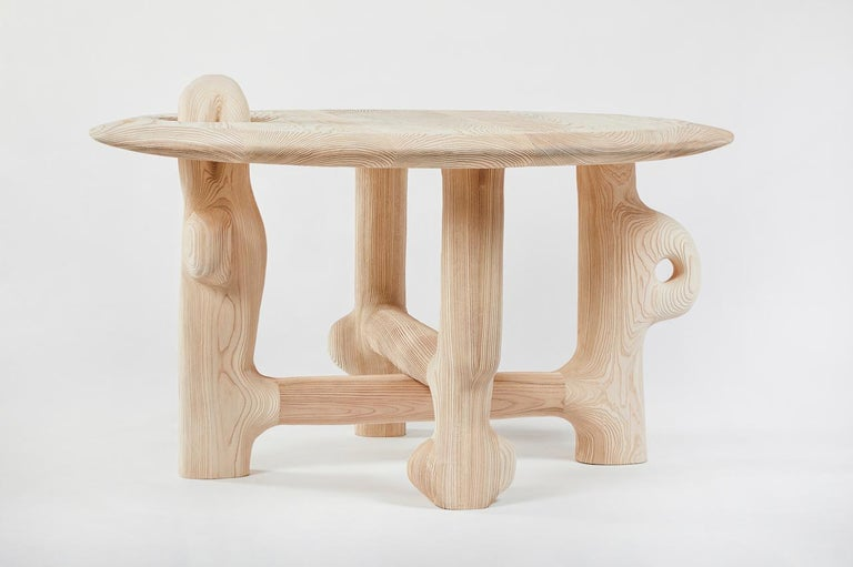 Organic Hand Carved and Textured Ash Dining Table by Casey McCafferty In New Condition For Sale In Santa Monica, CA
