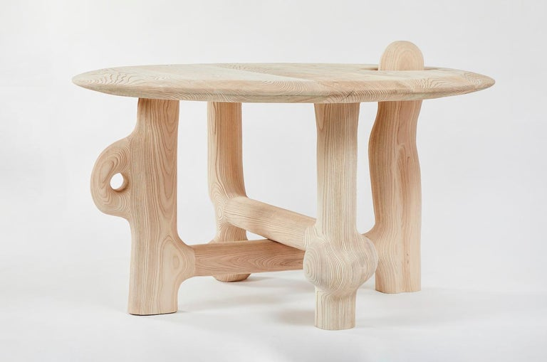 Contemporary Organic Hand Carved and Textured Ash Dining Table by Casey McCafferty For Sale