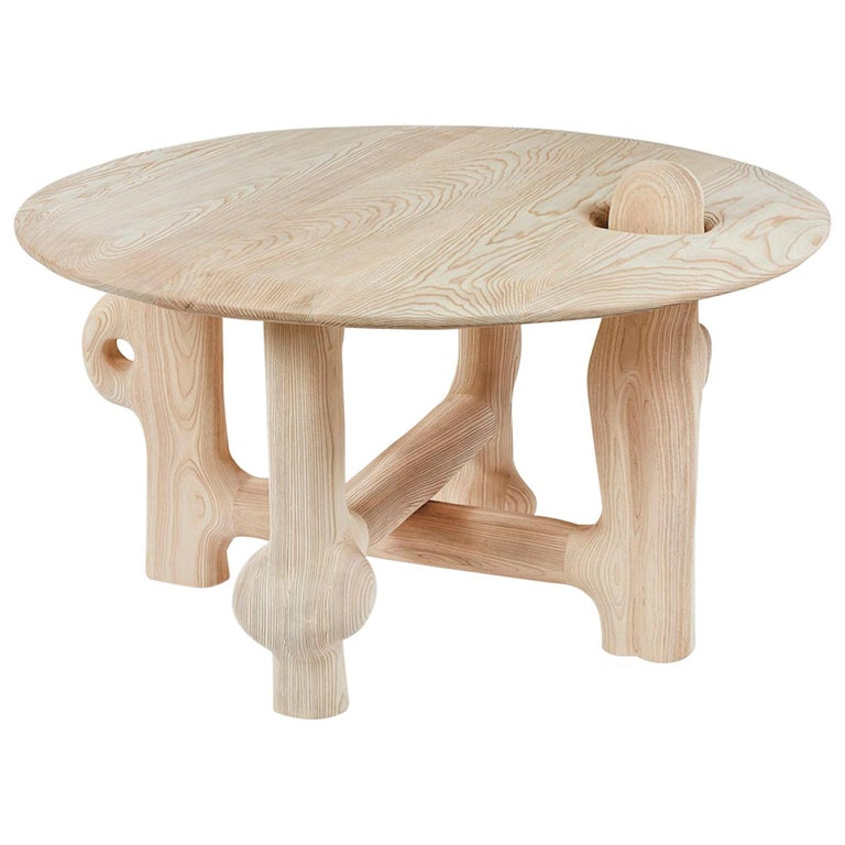 Organic Hand Carved and Textured Ash Dining Table by Casey McCafferty For Sale