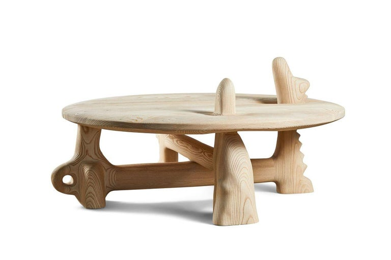 American Organic Hand Carved and Texturized Ash Coffee Table by Casey McCafferty For Sale