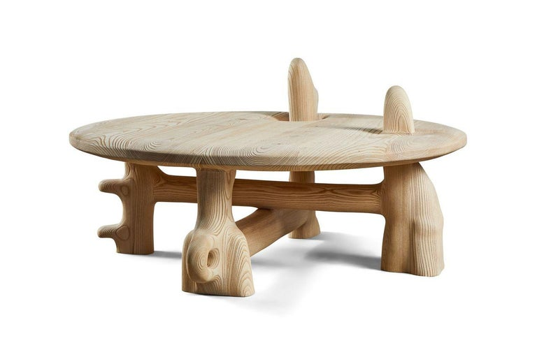 Blackened Organic Hand Carved and Texturized Ash Coffee Table by Casey McCafferty For Sale