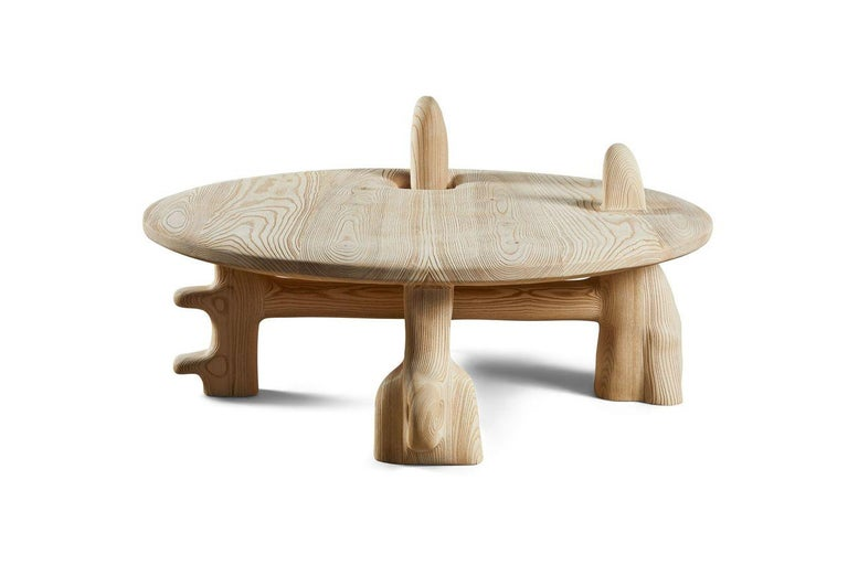 Organic Hand Carved and Texturized Ash Coffee Table by Casey McCafferty In New Condition For Sale In Santa Monica, CA