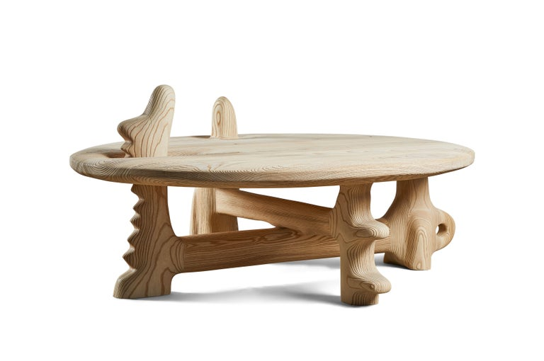 Contemporary Organic Hand Carved and Texturized Ash Coffee Table by Casey McCafferty For Sale