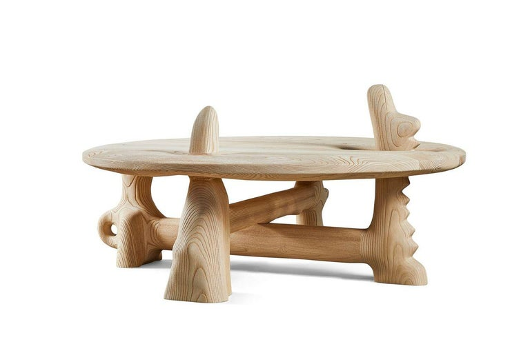 Organic Hand Carved and Texturized Ash Coffee Table by Casey McCafferty For Sale 2