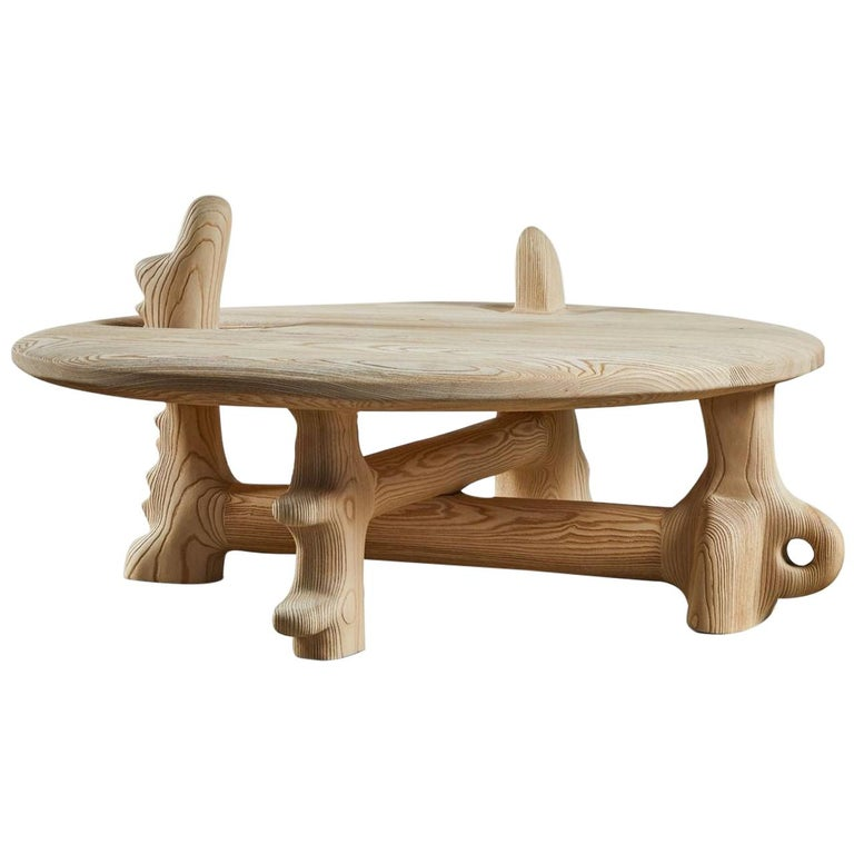 Organic Hand Carved and Texturized Ash Coffee Table by Casey McCafferty For Sale