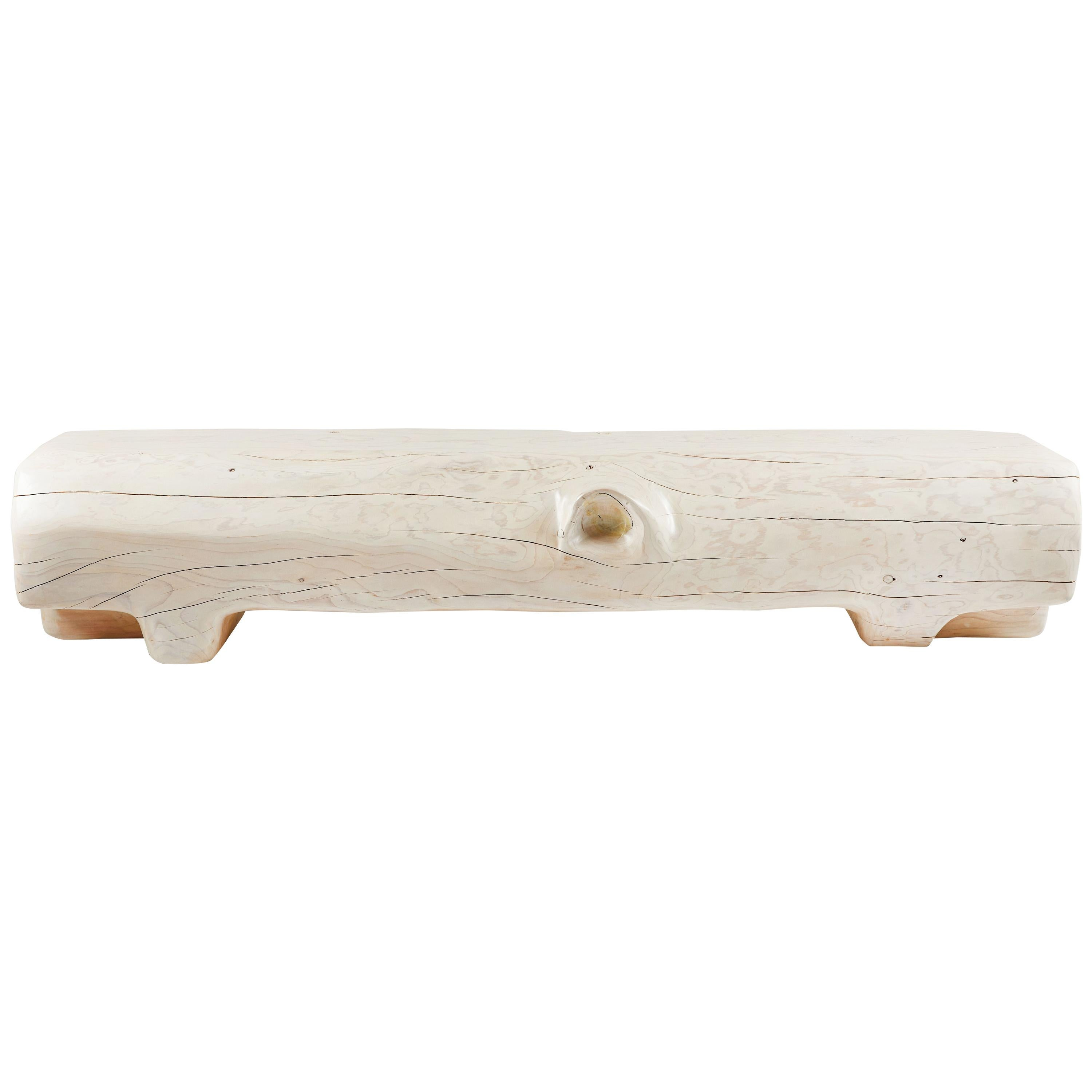Organic Hand Carved and White Washed Cedar Bench by Casey McCafferty