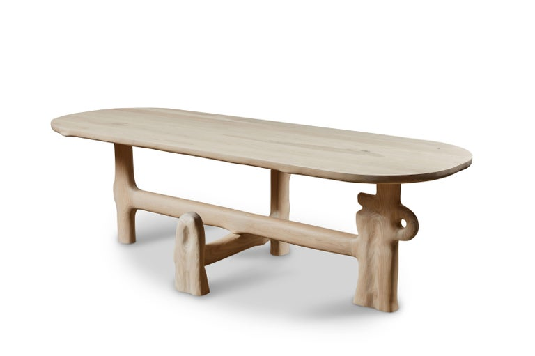 Organic hand carved sculptural dining table in white washed ash. Made in the USA by Casey McCafferty.   Henge table sculpture series  Pictures shown of this sculptural piece are a depiction what yours could look like.   This piece is a one of