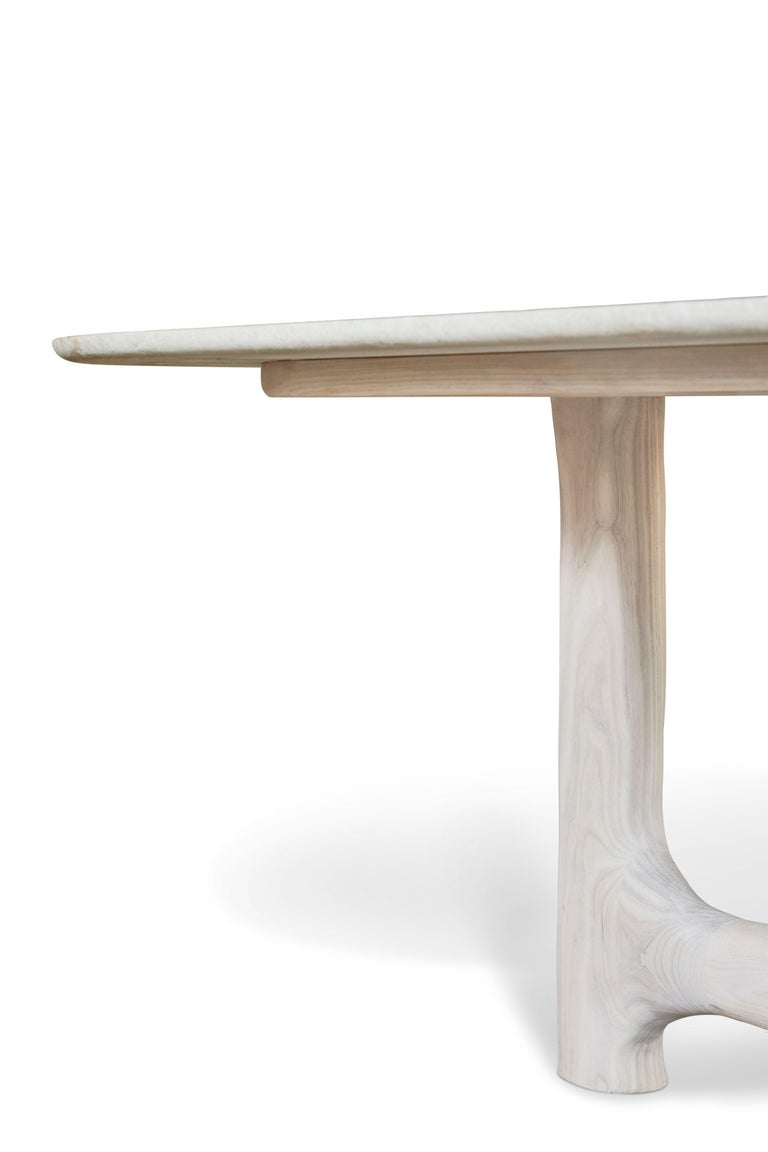 American Organic Hand Carved and White Washed Dining Coffee Table by Casey McCafferty For Sale