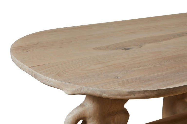 Oak Organic Hand Carved and White Washed Dining Coffee Table by Casey McCafferty For Sale