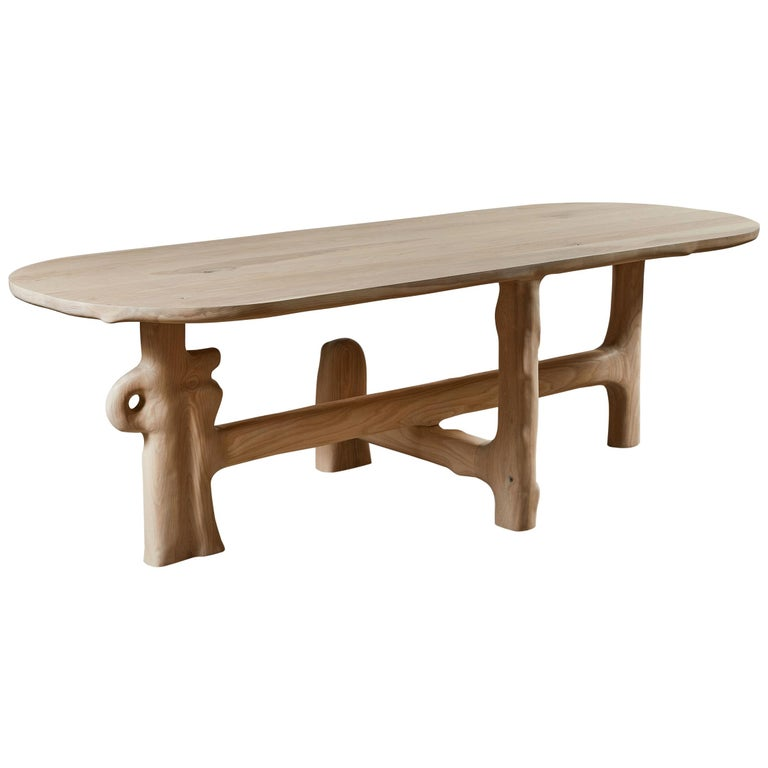 Organic Hand Carved and White Washed Dining Coffee Table by Casey McCafferty For Sale