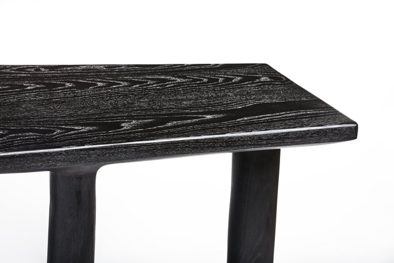Organic Hand Carved Ebonized Ash Desk by Casey McCafferty For Sale 4