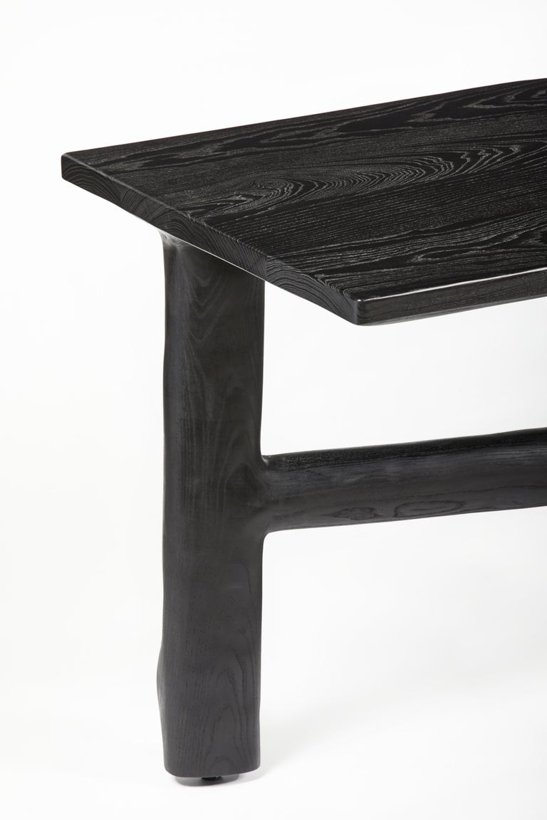 Organic Hand Carved Ebonized Ash Desk by Casey McCafferty For Sale 6