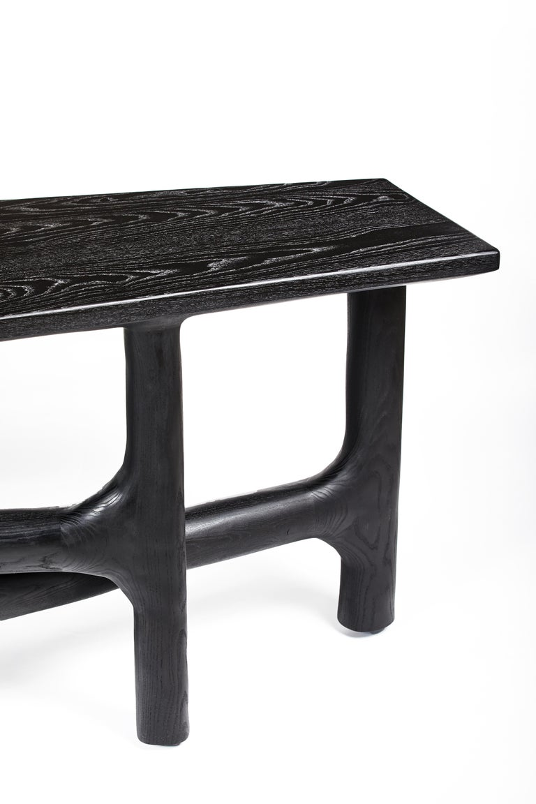 Organic Hand Carved Ebonized Ash Desk by Casey McCafferty For Sale 7