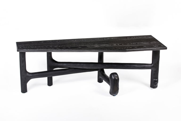 American Organic Hand Carved Ebonized Ash Desk by Casey McCafferty For Sale