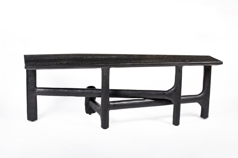 Blackened Organic Hand Carved Ebonized Ash Desk by Casey McCafferty For Sale