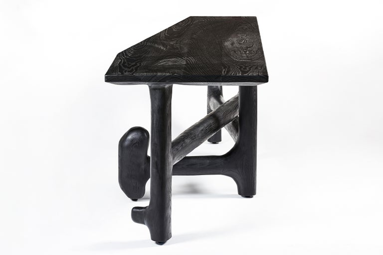 Organic Hand Carved Ebonized Ash Desk by Casey McCafferty For Sale 1