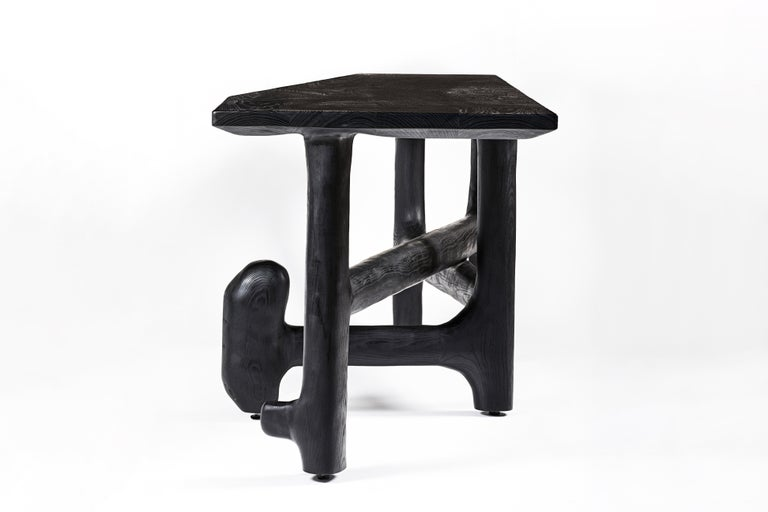 Organic Hand Carved Ebonized Ash Desk by Casey McCafferty For Sale 2