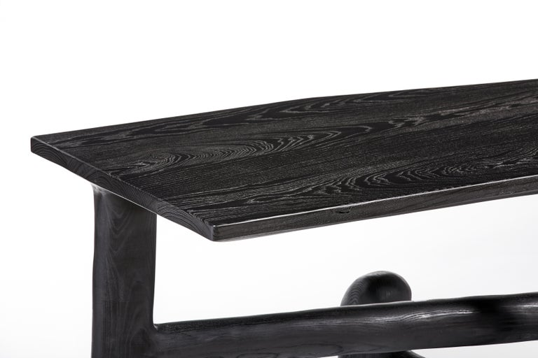 Organic Hand Carved Ebonized Ash Desk by Casey McCafferty For Sale 3