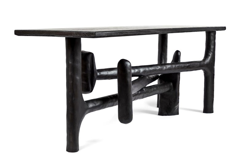 Organic Hand Carved Ebonized Ash Entry Table by Casey McCafferty For Sale 3